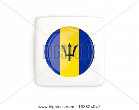 Square Button With Round Flag Of Barbados