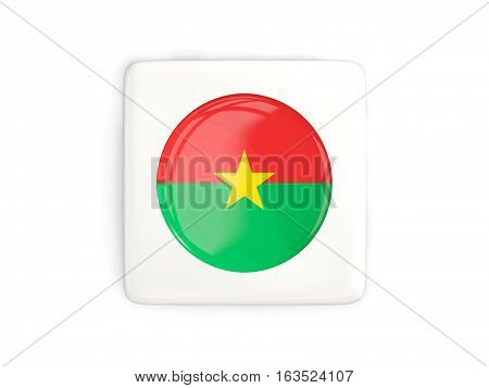 Square Button With Round Flag Of Burkina Faso