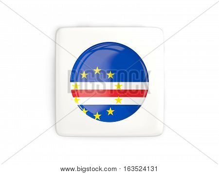 Square Button With Round Flag Of Cape Verde