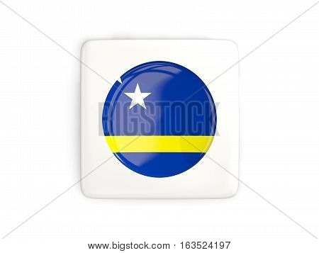 Square Button With Round Flag Of Curacao
