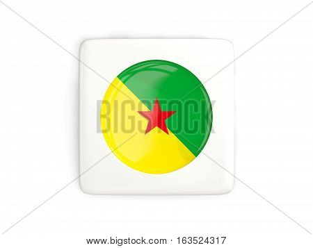 Square Button With Round Flag Of French Guiana