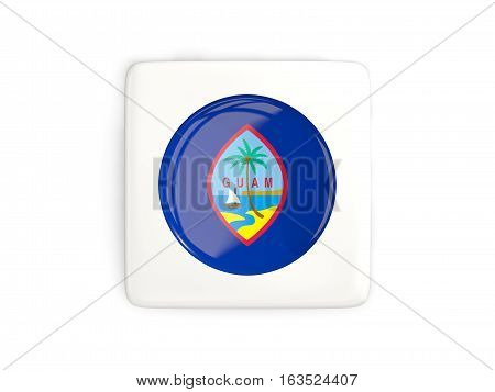 Square Button With Round Flag Of Guam