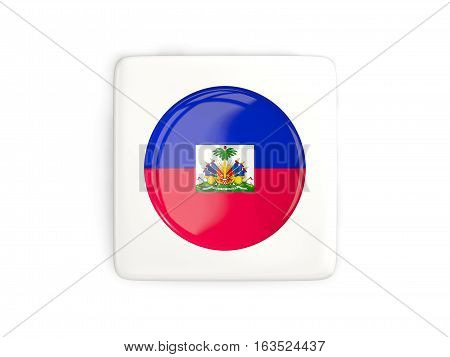 Square Button With Round Flag Of Haiti