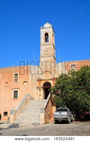 AGIA TRIADA, CRETE - SEPTEMBER 16, 2016 - Front view of the Agia Triada monastery Agia Crete Greece Europe, September 16, 2016.