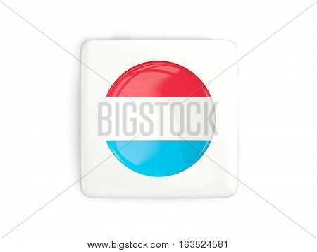 Square Button With Round Flag Of Luxembourg