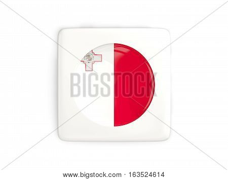 Square Button With Round Flag Of Malta