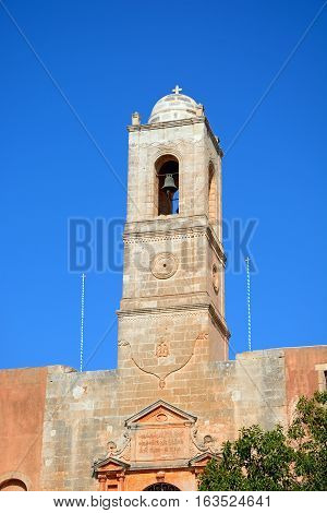 View of the Agia Triada monastery bell tower Agia Crete Greece Europe.