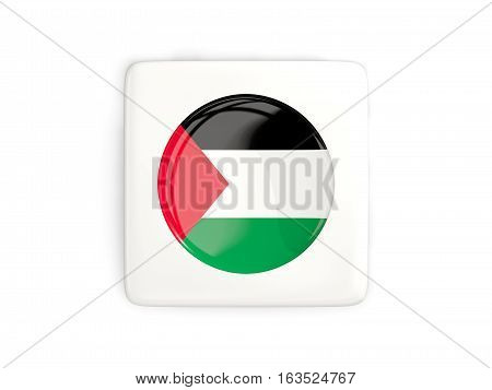 Square Button With Round Flag Of Palestinian Territory