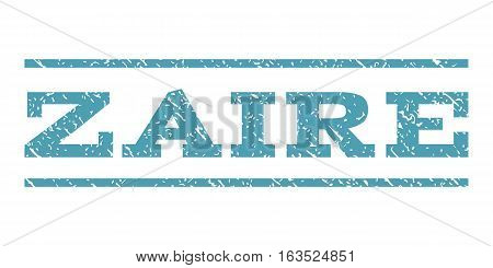 Zaire watermark stamp. Text caption between horizontal parallel lines with grunge design style. Rubber seal stamp with scratched texture. Vector cyan color ink imprint on a white background.