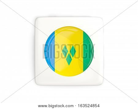 Square Button With Round Flag Of Saint Vincent And The Grenadines