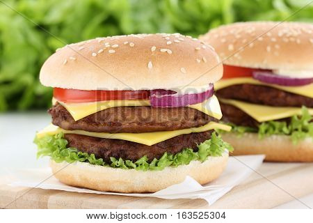 Double Cheeseburger Hamburger Burger Tomatoes Cheese