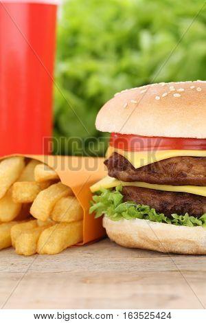 Double Cheeseburger Hamburger And Fries Menu Meal Combo Fast Food Drink
