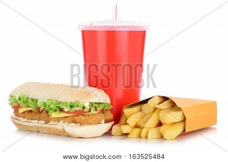 Chickenburger Chicken Burger Hamburger And Fries Menu Meal Combo Drink Isolated