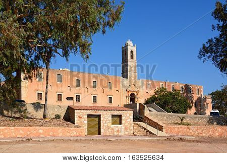 AGIA TRIADA, CRETE - SEPTEMBER 16, 2016 - Front view of the Agia Triada monastery Agia Triada Crete Greece Europe, September 16, 2016.