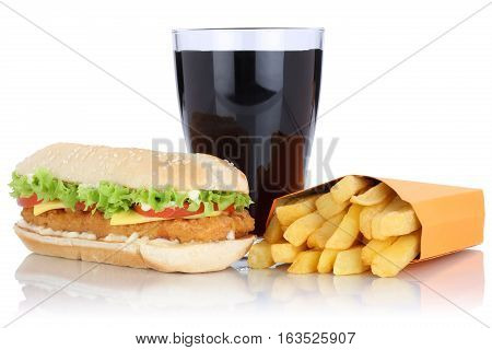 Chickenburger Chicken Burger Hamburger And Fries Menu Meal Combo Cola Drink Isolated