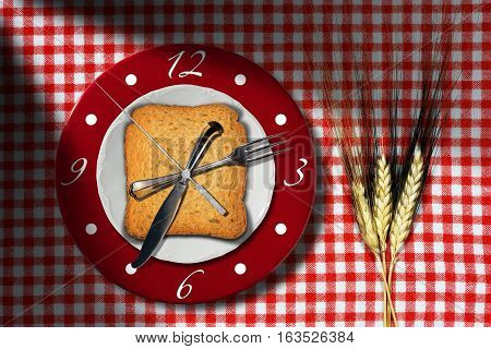 Breakfast Time - Clock made with a rusk, silver cutlery and a plate on a table with checkered tablecloth and three ears of wheat