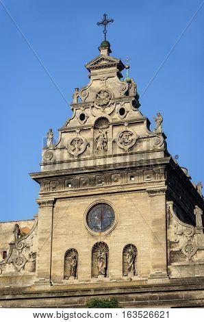 Upper part of Church of St. Andrew (Bernardine monastery) in Lviv (Lvov) Ukraine