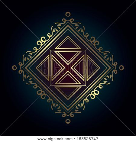 abstract geometric gold monogram pattern in the diamond-shaped decorated with florid lines