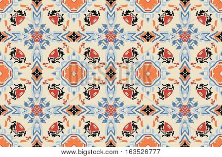 on an abstract background colored symmetrical pattern of the elements of geometric shapes of modern design sloppy paint smears