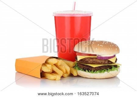 Double Cheeseburger Hamburger And Fries Menu Meal Combo Fast Food Drink Isolated