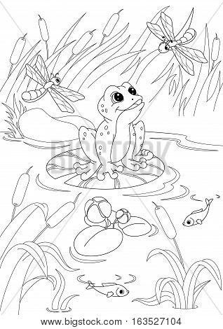 Illustration frog in the pond, coloring page