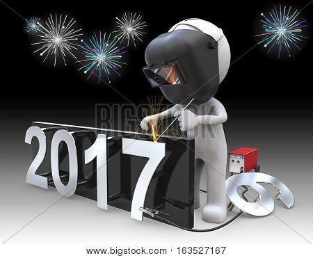 Dude 3D character the Welder welding number 7 to 2017 New Years Eve. Fireworks in Background.