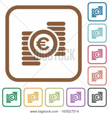Euro coins simple icons in color rounded square frames on white background