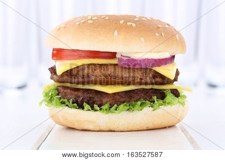 Double Cheeseburger Hamburger Burger Fresh Tomatoes Lettuce Cheese