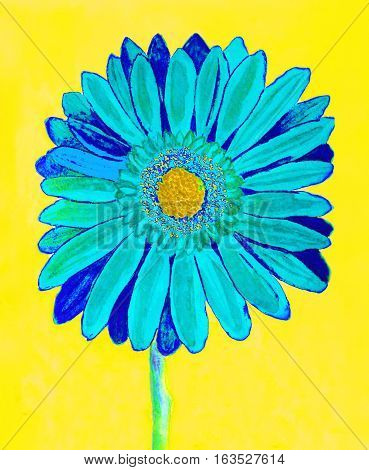 Bluegerbera flower on yellow background watercolor painting.