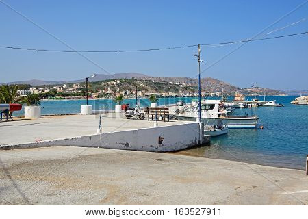 KALYVES, CRETE - SEPTEMBER 16, 2016 - Slipway to the harbour with views towards the sea and coastline Kalyves Crete Greece Europe, September 16, 2016.