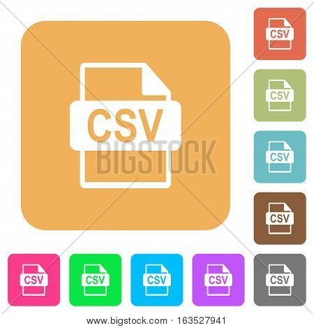 CSV file format icons on rounded square vivid color backgrounds.