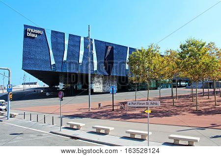 BARCELONA, SPAIN - OCTOBER 08, 2013: The Blau Museum (Blue Museum) in Barcelone (former Museum of Natural Sciences) has been completely renewed to become from now on its new headquarters the Forum Building