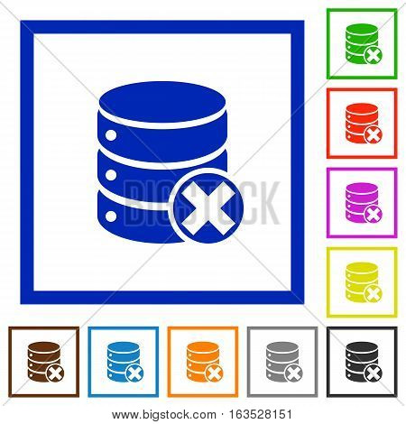 Database cancel flat color icons in square frames on white background