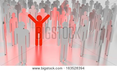 Red happy glowing man standing in a group of ordinary people individuality concept 3D illustration