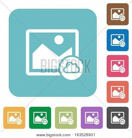Cloud image white flat icons on color rounded square backgrounds