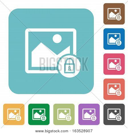 Lock image white flat icons on color rounded square backgrounds