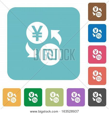 Yen new Shekel exchange white flat icons on color rounded square backgrounds