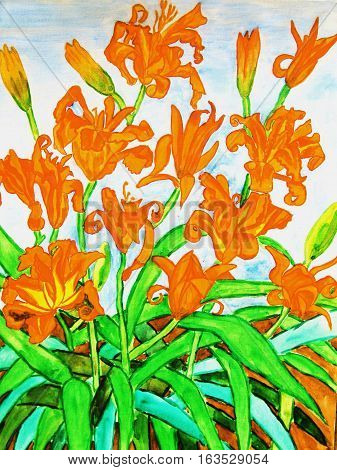painting watercolours: Orange colour daily lilies vertical.