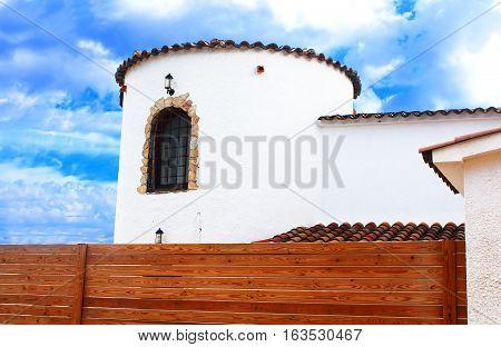 Part of white mediterranian house in Lloret de Mar, Spain