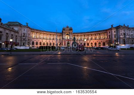 Famous hofburg palace in vienna in the evening, austria