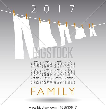 2017 calendar with a family concept on a gray background