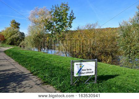 Les Mureaux France - october 31 2016 : the Seine riverside