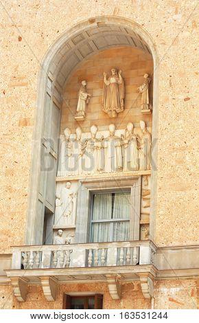 Balcony on famous Montserrat monastery buildings in Spain