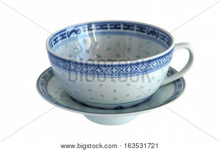 Bluish white porcelain cup with translucent spots the size and shape of a grain of rice