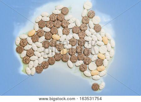 Pills in a shape of a Australia