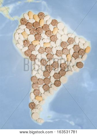 Pills in a shape of a south America