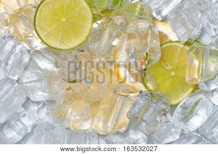 Ice cubes and citrus fruit mixed toghether