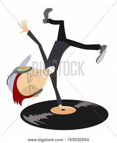 Cartoon funny DJ with headphones on the head stands head over heels on vinyl record