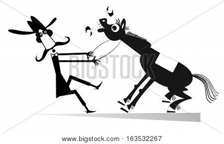 Rodeo. Man or cowboy is trying to hold the flushed horse