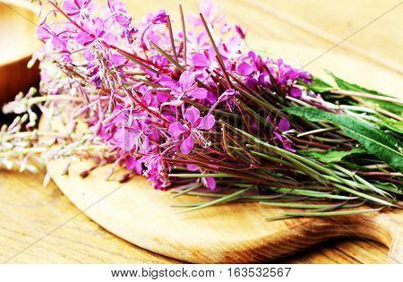 Flower Willowherb - Epilobium Angustifolium on cutting board